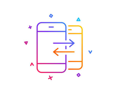 Phone Communication line icon. Incoming and Outgoing call sign. Conversation or SMS symbol. Gradient line button. Phone Communication icon design. Colorful geometric shapes. Vector