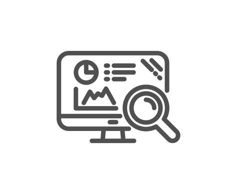 Seo statistics line icon. Search engine sign. Analytics chart symbol. Quality design flat app element. Editable stroke Seo analytics icon. Vector