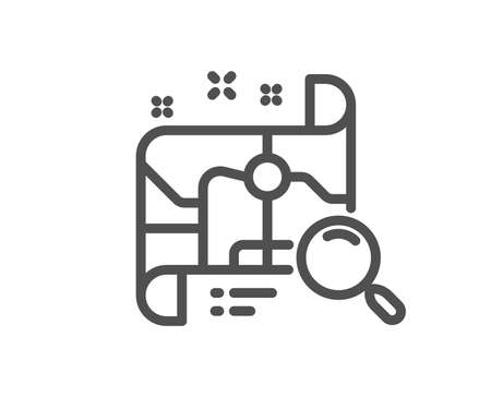 Search map line icon. Find location address sign. Quality design flat app element. Editable stroke Search map icon. Vector