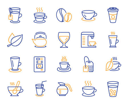 Coffee and Tea line icons. Set of Cappuccino, Juice with ice and Latte coffee cup icons. Teapot, Coffeepot and Hot drink with Steam. Mint leaf tea, Herbal beverage and Vending. Hot latte cup. Vector
