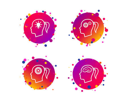 Head with brain and idea lamp bulb icons. Female woman think symbols. Cogwheel gears signs. Gradient circle buttons with icons. Random dots design. Vector Illustration