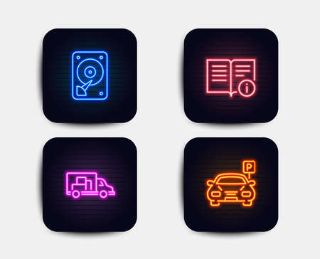 Neon glow lights. Set of Hdd, Truck transport and Technical info icons. Parking sign. Hard disk, Delivery, Documentation. Car park.  Neon icons. Glowing light banners. Vector