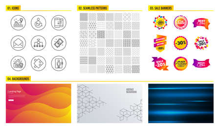 Seamless pattern. Shopping sale banners. Set of Euro money, Share and Roller coaster icons. Mail, Phone communication and Strategy signs. Restructuring, Cream and Elevator symbols. Pattern vector Foto de archivo - 112886351