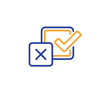 Checkbox line icon. Survey choice sign. Business review symbol. Colorful outline concept. Blue and orange thin line color icon. Checkbox Vector