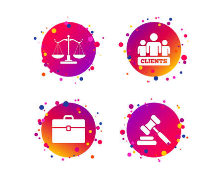 Scales of Justice icon. Group of clients symbol. Auction hammer sign. Law judge gavel. Court of law. Gradient circle buttons with icons. Random dots design. Vector