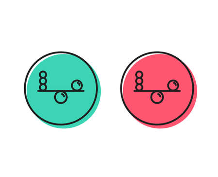 Balance line icon. Mind stability sign. Concentration symbol. Positive and negative circle buttons concept. Good or bad symbols. Balance Vector
