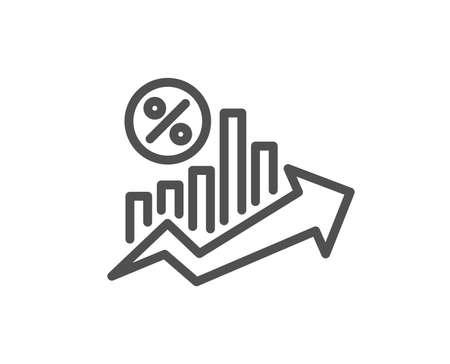 Ikona linii wykresu procentowego wzrostu pożyczki. Znak rabatu. Symbol procentu kredytu. Płaski element aplikacji jakości projektu. Edytowalna ikona procent pożyczki. Wektor