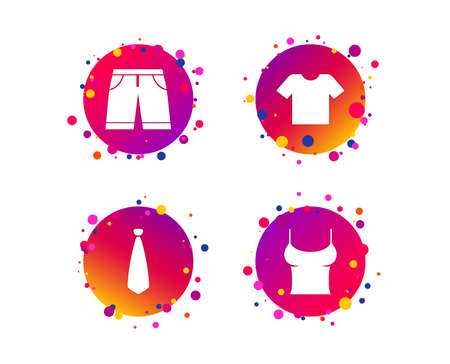 Clothes icons. T-shirt and bermuda shorts signs. Business tie symbol. Gradient circle buttons with icons. Random dots design. Vector Illustration