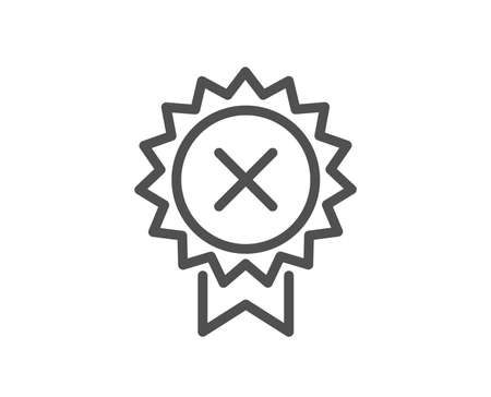 Reject medal line icon. Decline award sign. Quality design flat app element. Editable stroke Reject medal icon. Vector Illustration