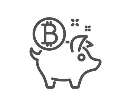 Bitcoin line icon. Cryptocurrency coin sign. Piggy bank money symbol. Quality design flat app element. Editable stroke Bitcoin coin icon. Vector Ilustracja