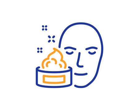 Face cream line icon. Skin care lotion sign. Cosmetics symbol. Colorful outline concept. Blue and orange thin line color icon. Face cream Vector Иллюстрация