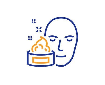 Face cream line icon. Skin care lotion sign. Cosmetics symbol. Colorful outline concept. Blue and orange thin line color icon. Face cream Vector Illustration