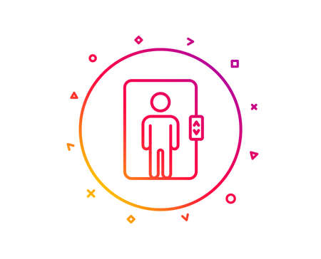 Elevator line icon. Transportation lift sign. Gradient pattern line button. Elevator icon design. Geometric shapes. Vector Ilustração