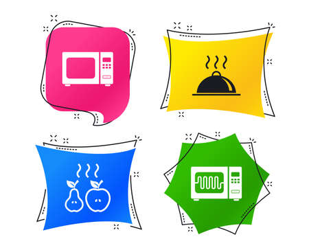 Microwave grill oven icons. Cooking apple and pear signs. Food platter serving symbol. Geometric colorful tags. Banners with flat icons. Trendy design. Vector Illustration