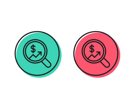Business Audit or Statistics line icon. Analytics with charts symbol. Search Magnifier sign. Positive and negative circle buttons concept. Good or bad symbols. Currency audit Vector
