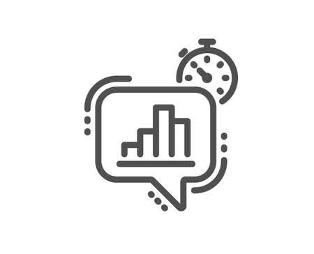 Diagram chart line icon. Statistics timer sign. Market analytics symbol. Quality design flat app element. Editable stroke Statistics timer icon. Vector 일러스트