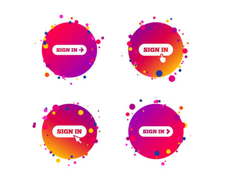 Sign in icons. Login with arrow, hand pointer symbols. Website or App navigation signs. Gradient circle buttons with icons. Random dots design. Vector