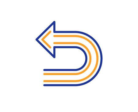 Undo arrow line icon. Left turn direction symbol. Navigation pointer sign. Colorful outline concept. Blue and orange thin line color icon. Undo Vector Illustration