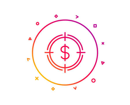 Target with Dollar line icon. Aim symbol. Cash or Money sign. Gradient pattern line button. Dollar Target icon design. Geometric shapes. Vector