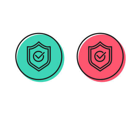 Approved shield line icon. Accepted or confirmed sign. Protection symbol. Positive and negative circle buttons concept. Good or bad symbols. Approved shield Vector