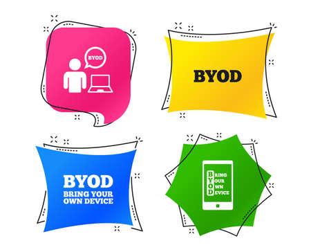BYOD icons. Human with notebook and smartphone signs. Speech bubble symbol. Geometric colorful tags. Banners with flat icons. Trendy design. Vector
