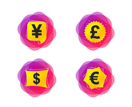 Dollar, Euro, Pound and Yen currency icons. USD, EUR, GBP and JPY money sign symbols. Geometric gradient sales shapes. Creative dollar banners. Template for design. Vector Illustration