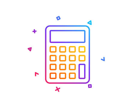 Calculator line icon. Accounting sign. Calculate finance symbol. Gradient line button. Calculator icon design. Colorful geometric shapes. Vector