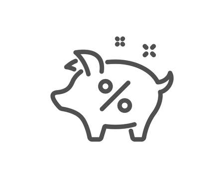 Loan percent line icon. Piggy bank sign. Credit percentage symbol. Quality design flat app element. Editable stroke Loan percent icon. Vector 向量圖像