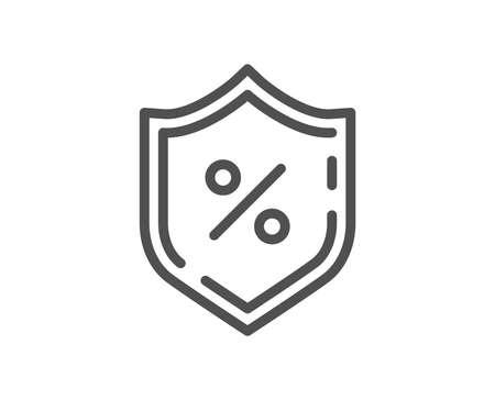 Loan percent line icon. Protection shield sign. Credit percentage symbol. Quality design flat app element. Editable stroke Loan percent icon. Vector