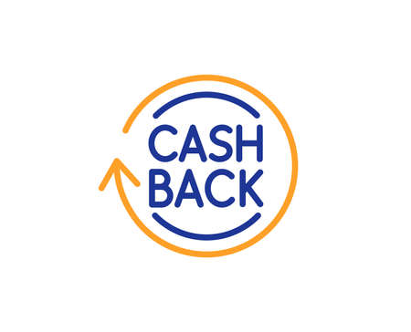 Cashback service line icon. Money transfer sign. Rotation arrow symbol. Colorful outline concept. Blue and orange thin line color icon. Cashback Vector