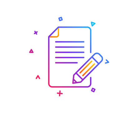 Feedback line icon. Page with pencil sign. Copywriting symbol. Gradient line button. Article icon design. Colorful geometric shapes. Vector