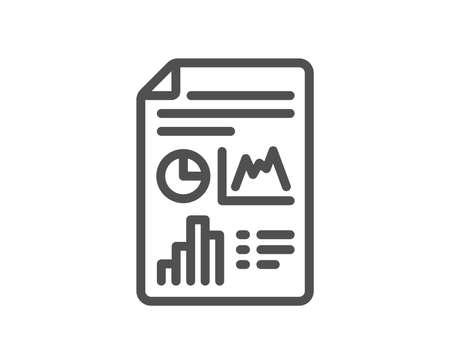 Report document line icon. Column graph sign. Growth diagram, pie chart symbol. Quality design flat app element. Editable stroke Report document icon. Vector Illustration