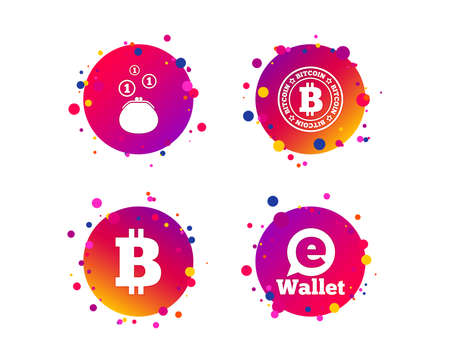 Bitcoin icons. Electronic wallet sign. Cash money symbol. Gradient circle buttons with icons. Random dots design. Vector