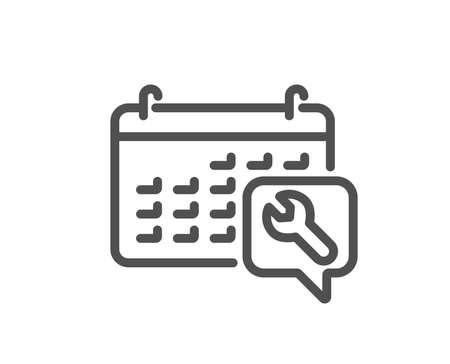 Spanner tool line icon. Repair service calendar sign. Fix instruments symbol. Quality design flat app element. Editable stroke Spanner icon. Vector