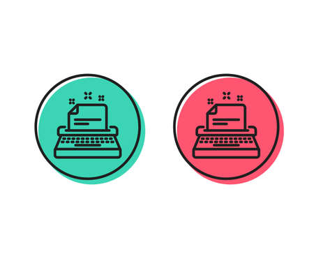 Typewriter line icon. Documentation sign. Positive and negative circle buttons concept. Good or bad symbols. Typewriter Vector