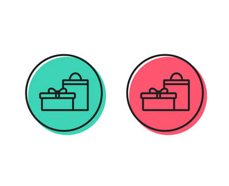 Gift box with bag line icon. Present or Sale sign. Birthday Shopping symbol. Package in Gift Wrap. Positive and negative circle buttons concept. Good or bad symbols. Gifts Vector Stock Vector - 112886441