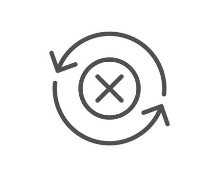 Reject refresh line icon. Decline update sign. Rotation arrow. Quality design flat app element. Editable stroke Reject refresh icon. Vector