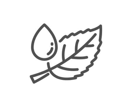 Minzblatt mit Wassertropfenliniensymbol. Naturpflanze Tauzeichen. Umweltschutzsymbol. Flaches App-Element für hochwertiges Design. Bearbeitbarer Strich Blatttau-Symbol. Vektor