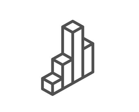 Diagram chart line icon. Column 3d graph sign. Market analytics symbol. Quality design flat app element. Editable stroke 3d chart icon. Vector 일러스트