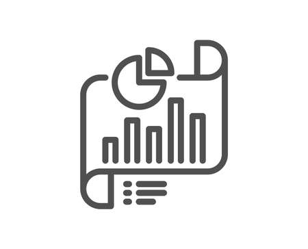 Report document line icon. Column graph sign. Growth diagram, pie chart symbol. Quality design flat app element. Editable stroke Report document icon. Vector  イラスト・ベクター素材