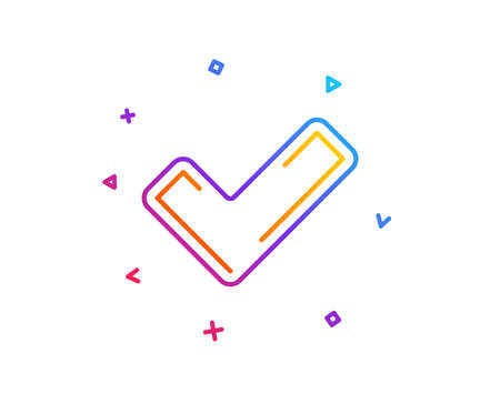 Check line icon. Approved Tick sign. Confirm, Done or Accept symbol. Gradient line button. Tick icon design. Colorful geometric shapes. Vector