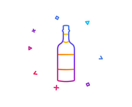 Brandy bottle line icon. Whiskey or Scotch alcohol sign. Gradient line button. Brandy bottle icon design. Colorful geometric shapes. Vector