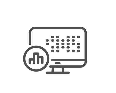 Report statistics line icon. Column graph sign. Growth diagram symbol. Quality design flat app element. Editable stroke Report statistics icon. Vector Illustration