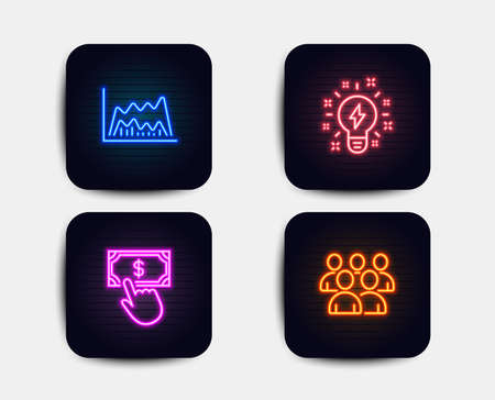 Neon set of Trade chart, Inspiration and Payment click icons. Group sign. Market data, Creativity, Financial transfer. Developers. Neon icons. Glowing light banners. Financial chart vector