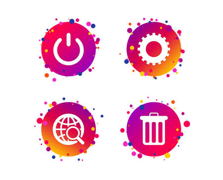 Globe magnifier glass and cogwheel gear icons. Recycle bin delete and power sign symbols. Gradient circle buttons with icons. Random dots design. Cogwheel vector