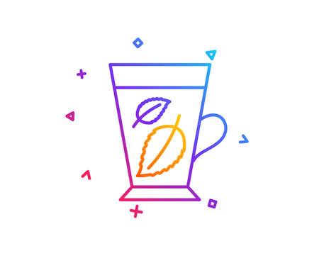 Mint Tea line icon. Fresh herbal beverage sign. Mentha leaves symbol. Gradient line button. Mint leaves icon design. Colorful geometric shapes. Vector Ilustração