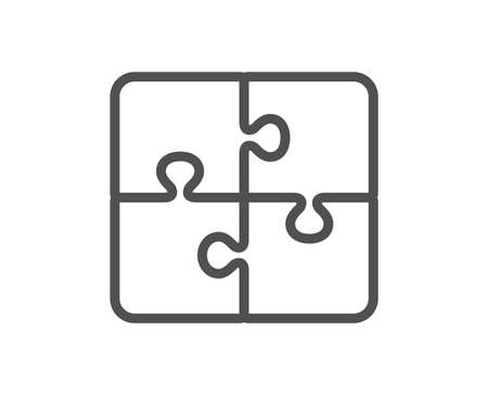 Puzzle line icon. Engineering strategy sign. Quality design flat app element. Editable stroke Puzzle icon. Vector