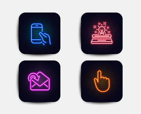 Neon glow lights. Set of Hold smartphone, Receive mail and Typewriter icons. Hand click sign. Phone call, Incoming message, Inspiration. Location pointer.  Neon icons. Glowing light banners. Vector