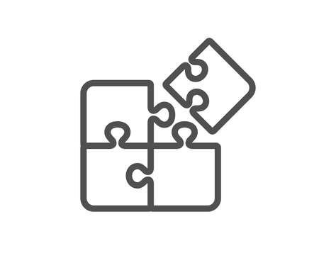 Puzzle-Liniensymbol. Zeichen für technische Strategie. Flaches App-Element für hochwertiges Design. Bearbeitbares Strich-Puzzle-Symbol. Vektor
