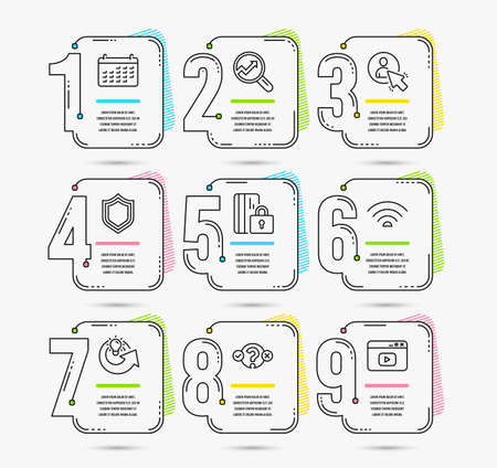 Infographic template with numbers 9 options. Set of Security, User and Quiz test icons. Wifi, Analytics and Calendar signs. Share idea, Blocked card and Video content symbols. Vector